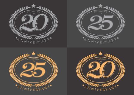 20th and 25th anniversary celebrating classic vector logo on gray background design Ilustração
