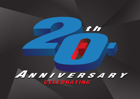20th anniversary celebrating 3d logo red and blue color on gray background vector design