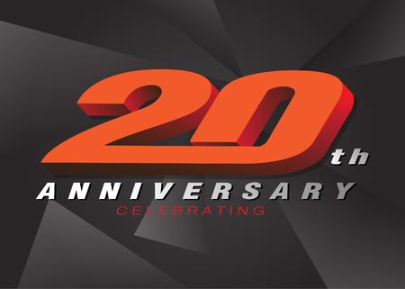 20th anniversary celebrating 3d logo red color on gray background vector design Ilustração