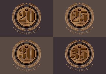 20th 25th 30th 35th anniversary celebrating classic vector logo design set