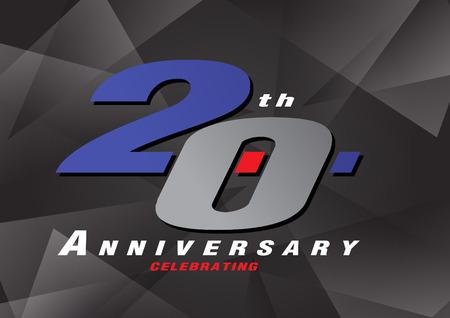 20th anniversary celebrating vector logo gray and blue color on gray background design Ilustração