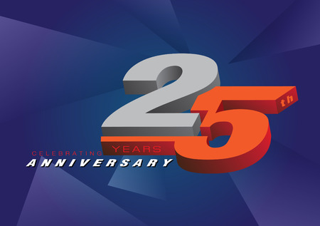 25th anniversary celebrating 3d logo gray and blue color on gray background vector design