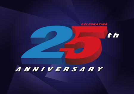 25th anniversary celebrating 3d logo red and blue color on blue background vector design Ilustração