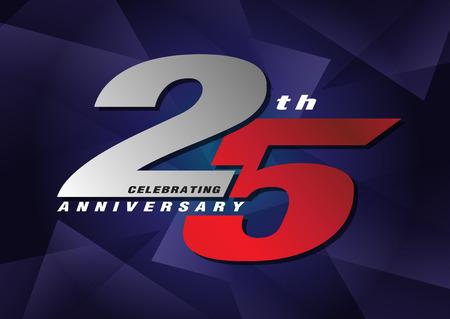 25th anniversary celebrating vector logo gray and blue color on blue background design Ilustração