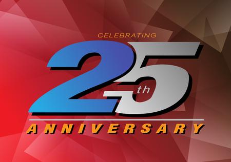25ste verjaardag vieren vector logo grijze en blauwe kleur op rode achtergrond ontwerpen