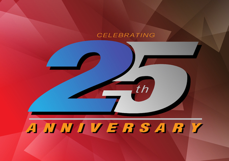 25th anniversary celebrating vector logo gray and blue color on red background design