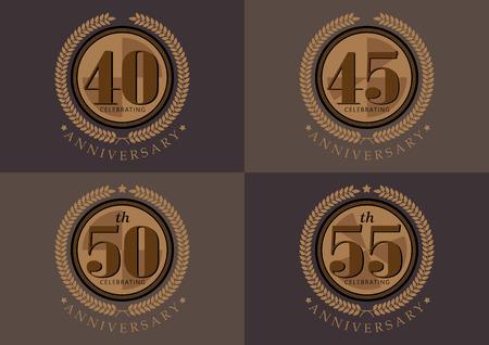 40e 45e 50e 55e verjaardag vieren klassieke vector logo ontwerpset