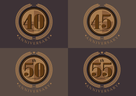 45th: 40th 45th 50th 55th anniversary celebrating classic vector logo design set