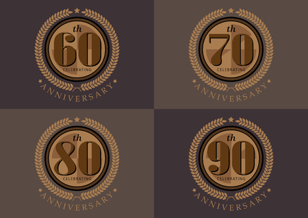 60ste 70e 80e 90e verjaardag vieren klassieke vector logo ontwerpset Stock Illustratie