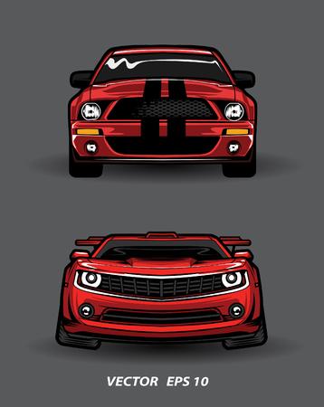 vooraanzicht rode auto cartoon op grijze achtergrond