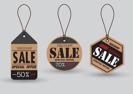 Set van verkoop tags met labels voor een speciale aanbieding