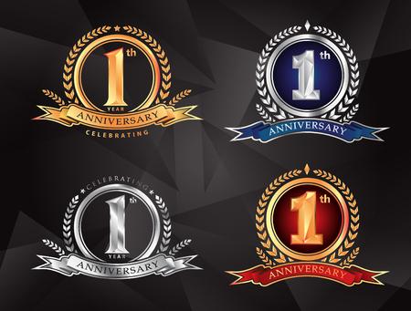 1e verjaardag vieren klassieke vector logo ontwerp premium set
