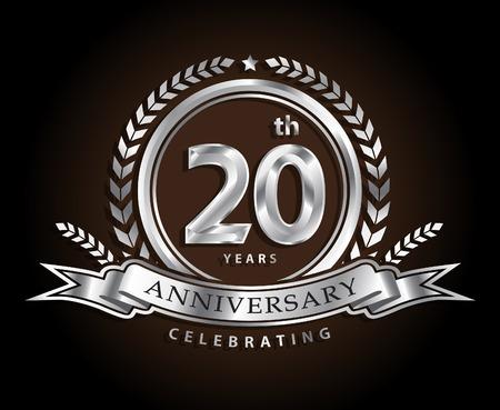 20ste verjaardag vieren klassieke vector logo ontwerp zilveren kleur Stock Illustratie
