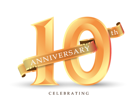 Template number 10th anniversary celebrating classic logo vector illustration