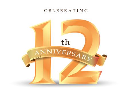 Sjabloon nummer 12e verjaardag vieren klassieke logo vectorillustratie Stock Illustratie