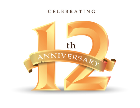 Template number 12th anniversary celebrating classic logo vector illustration