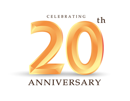 template number 20th anniversary celebrating classic logo vector illustration
