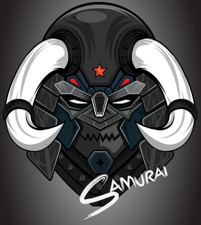 Samurai head abstract vector color