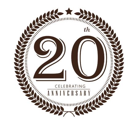 20th anniversary celebrating vector on white background Stock Illustratie