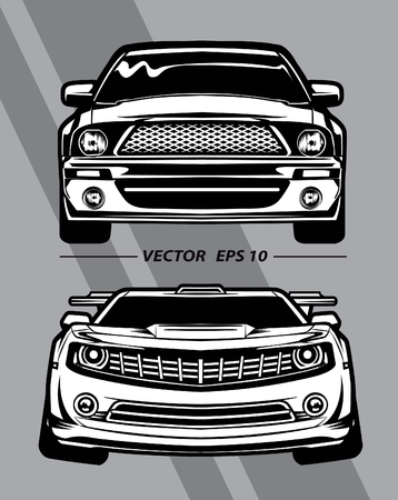 front view lined pattern cartoon on gray background Stock Illustratie