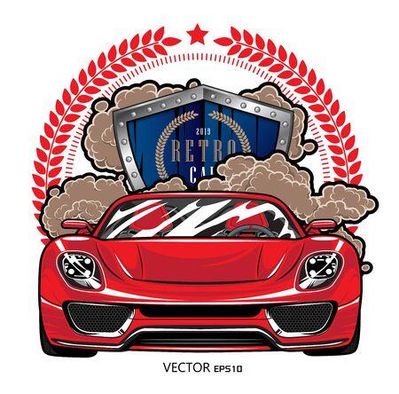 Red retro car logo graphic design illustration template