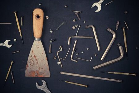 Different construction tools with Hand tools for home renovation maintenance and reparing concept