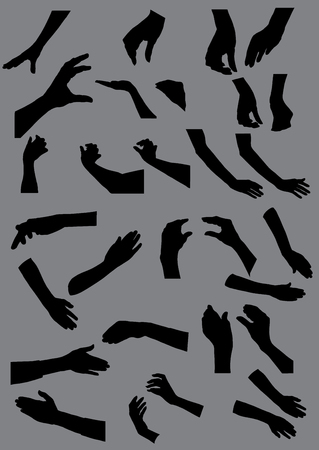 Hand shape black shadow illustration vector on gray background Stock Illustratie
