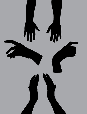 Hand shape black shadow illustration vector on gray background Çizim