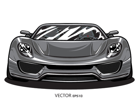 Vector sports gray car front view illustration on white background Stock Illustratie