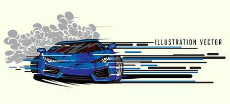 Blue sports car super speed illustration