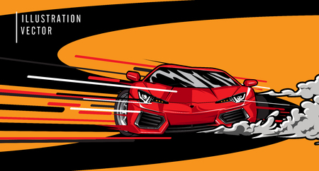 Red sports car on the road. Modern and fast vehicle racing. Super design concept of luxury automobile. Vector illustration Çizim