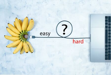 Computer keyboards and bananas use semantics. On an abstract background