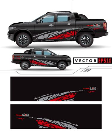 4 wheel drive truck and car graphic vector. abstract lines with black background design for vehicle vinyl