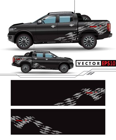 4 wheel drive truck and car graphic vector. abstract lines with black background design for vehicle Çizim
