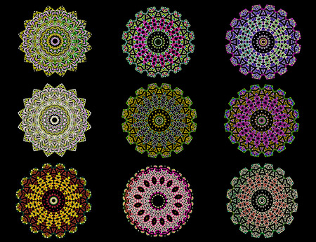 mandalas: Glowing colorful mandalas