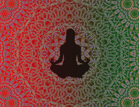 mandala: Yoga woman in meditation with mandala background Stock Photo