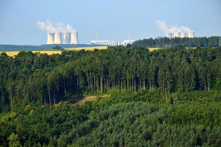 nuke plant: Bosque con las plantas de energ�a nuclear en el fondo