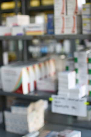pharmaceutic: Shelves with stocks of drugs in the warehouse Stock Photo
