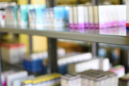 medical distribution: Shelves with stocks of drugs in the warehouse Stock Photo