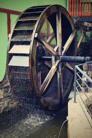 watermill: Old beautiful wooden watermill Stock Photo
