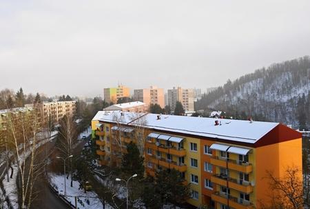 prefabricated buildings: Prefabricated houses in winter