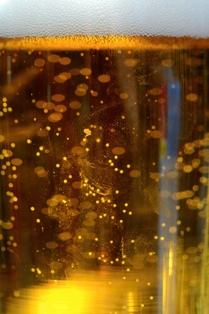 beer bubbles: Close-up of beer bubbles Stock Photo