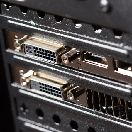 dvi: Computer graphics card, selective focus on the DVI Stock Photo