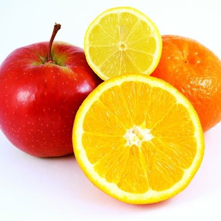 apple orange: Apple, orange and tangerine fruits