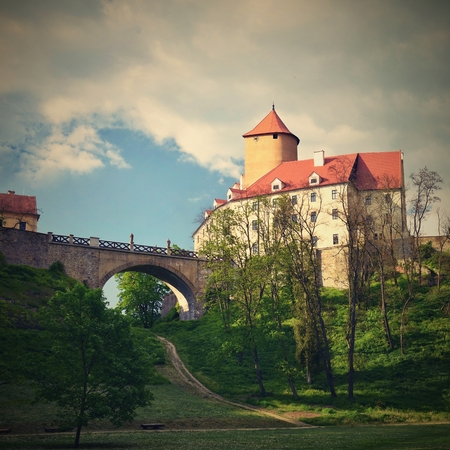 gothic castle: Beautiful Gothic castle Veveri. The city of Brno at the Brno dam. South Moravia - Czech Republic - Central Europe.