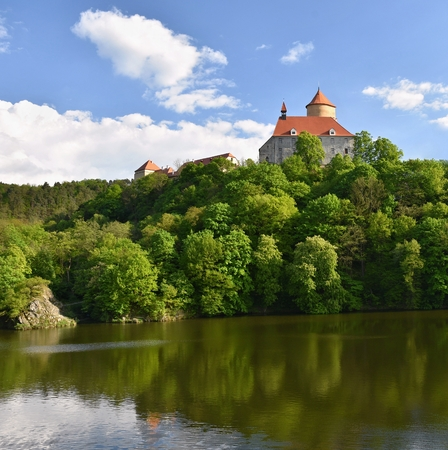 gothic castle: Beautiful Gothic castle Veveri. The city of Brno at the Brno dam. South Moravia - Czech Republic - Central Europe. Spring landscape.