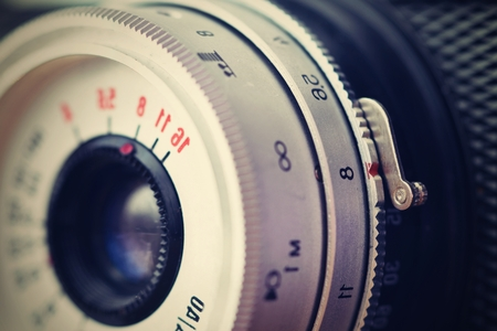 old photo: Russian old analog camera. Old retro photo. Detail. Stock Photo