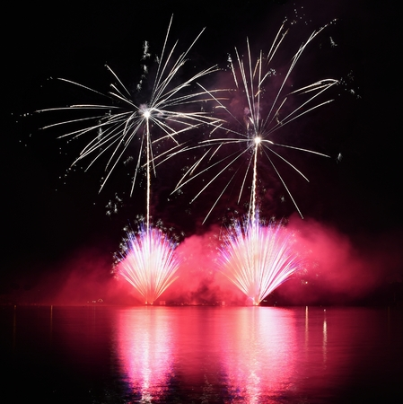 christmas in july: Beautiful colorful fireworks on water. Brno dam.  International Fireworks Competition Ignis Brunensis. Brno - Czech Republic - Europe.