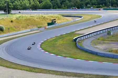 Motorcycles on the racetrack.Brno