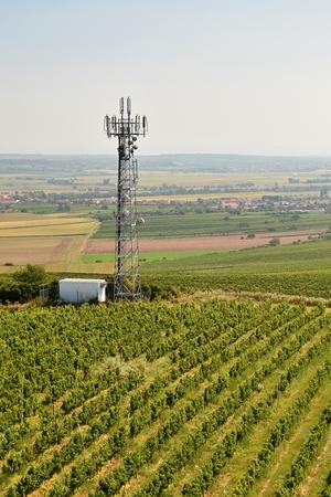 wireless tower: Telecommunication tower mast TV antennas wireless technology Stock Photo
